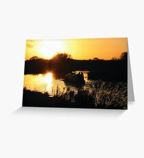 Narrowboat lovers at sunset - Fenland, England Greeting Card