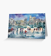 Ice Skating At Windsor Castle London Greeting Card
