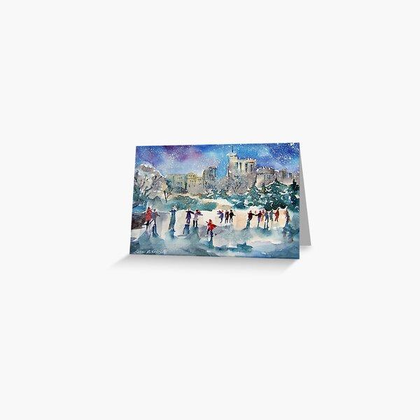 Ice Skating At Windsor Castle London Greeting Card