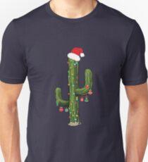 Cactus Christmas Tree Lights Wearing Santa Hat  Unisex T-Shirt