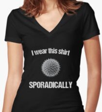 I Wear This Shirt Sporadically (Microbiology Pun) Women's Fitted V-Neck T-Shirt