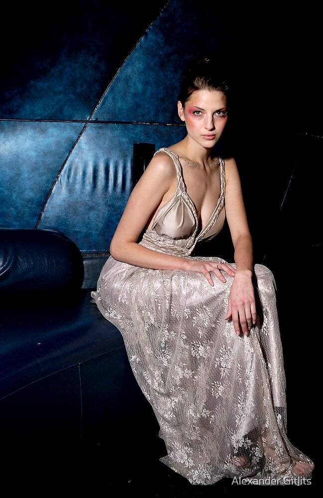 A model posing backstage by Alexander Gitlits