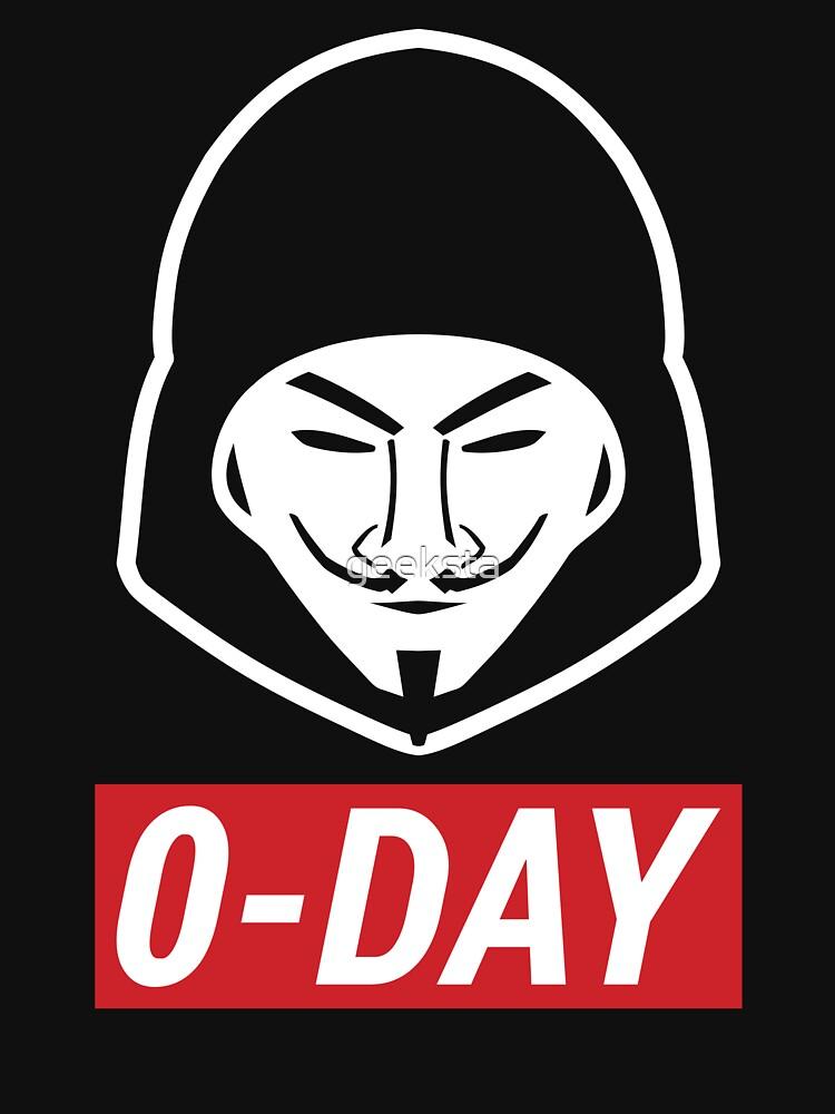 0-Day Cool Red/White Computer Hacker Design by geeksta