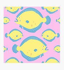 Fish cartoon - Sea Creatures Pink Pattern Photographic Print