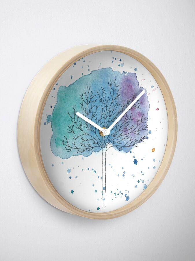 Alternate view of watercolor blue tree Clock