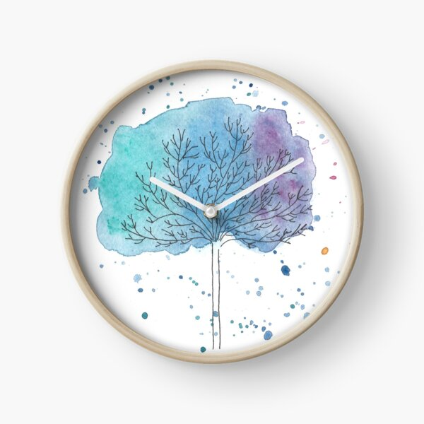 watercolor blue tree Clock
