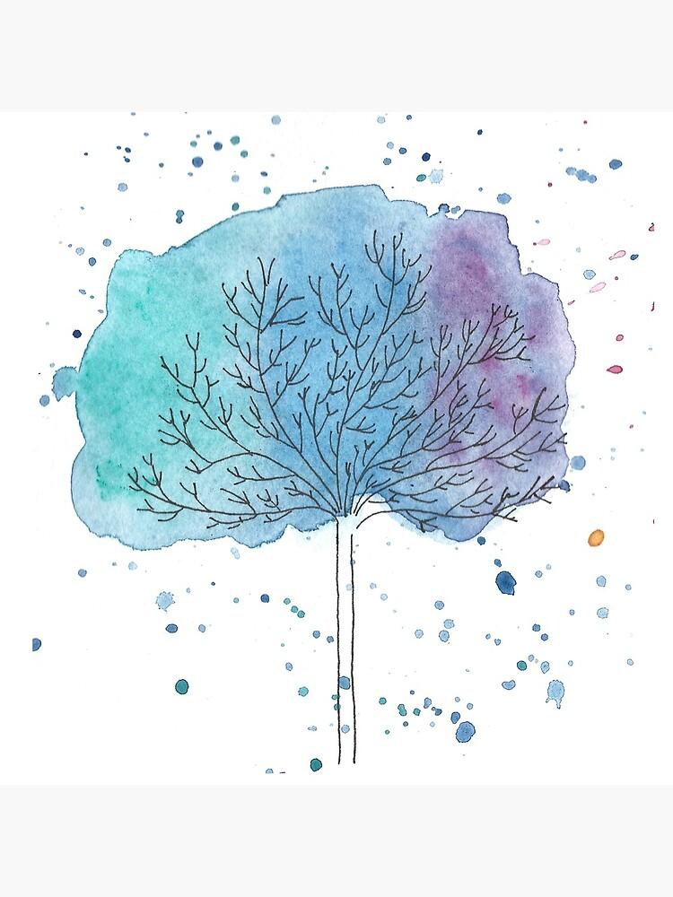 watercolor blue tree by thevintagenib