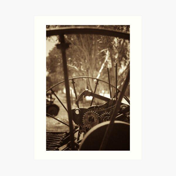 Rusting farm equipment - sepia Art Print