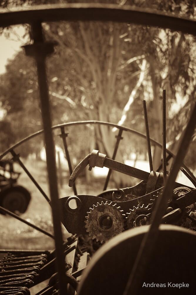 Rusting farm equipment - sepia by Andreas Koepke