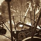 Rusting farm equipment - sepia by Andreas Koepke