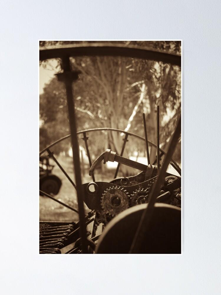 Alternate view of Rusting farm equipment - sepia Poster