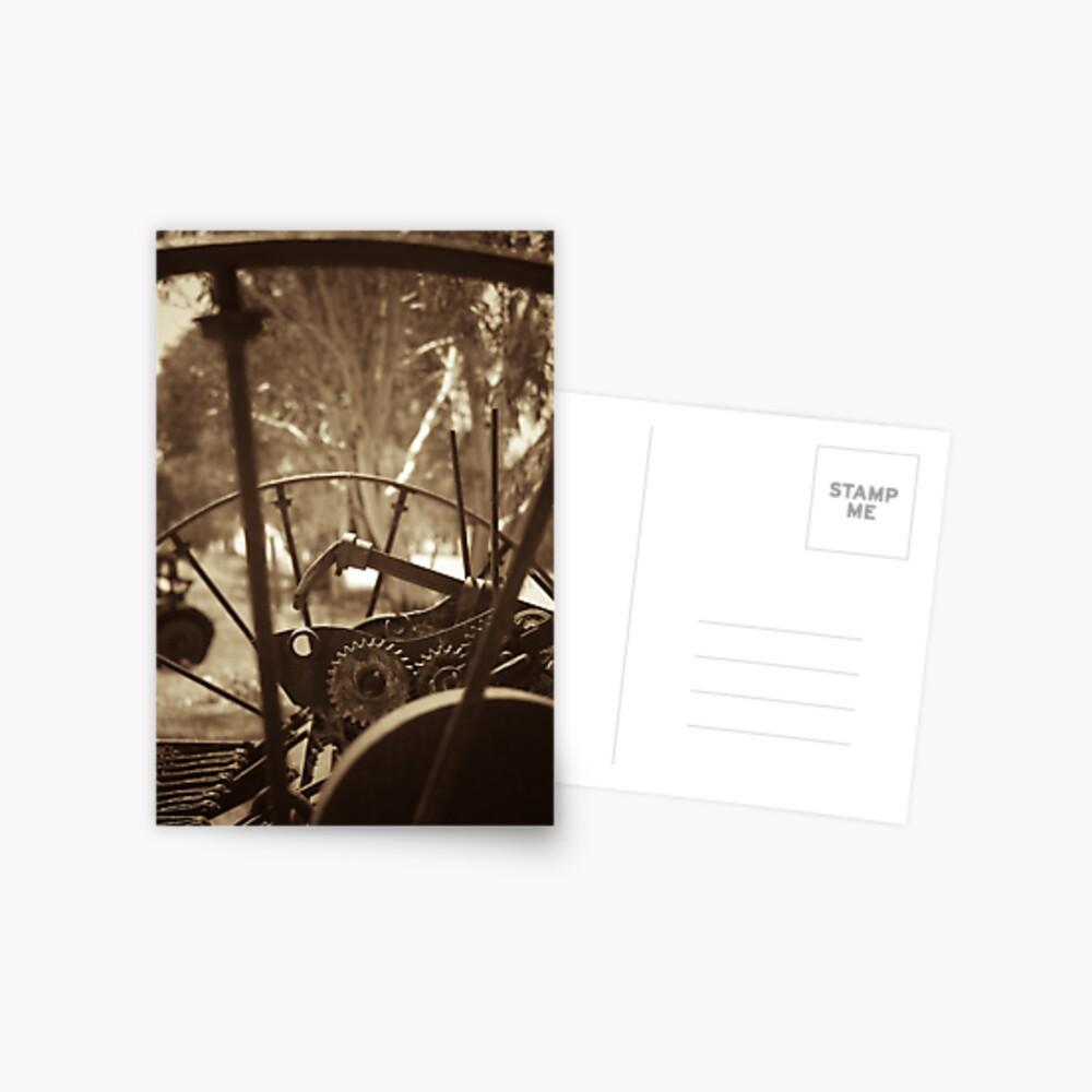 Rusting farm equipment - sepia Postcard