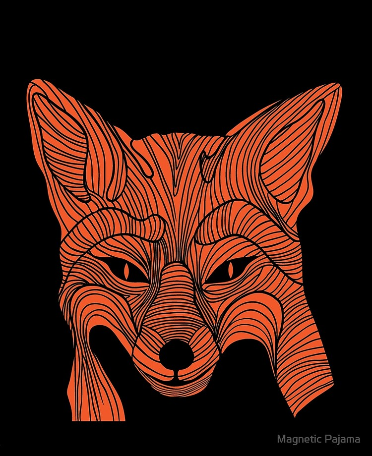 Abstract Fox Head Fox Drawing Black And Orange Ipad Case Skin By Magneticmama Redbubble