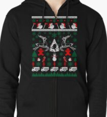 Merry Firefighter Fireman Ugly Christmas Sweater Funny Tshirt  Zipped Hoodie