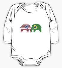 U.S.-Brazil Friendship Elephants One Piece - Long Sleeve