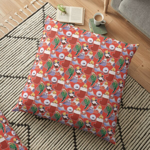 Christmas Budgies & Cockatiels - red Floor Pillow