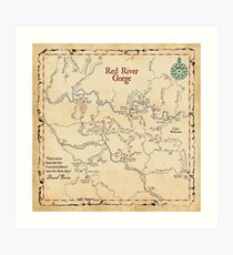 Red River Gorge Map, Daniel Boone National Forest Art Print