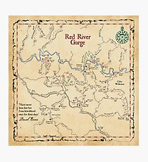 Red River Gorge Map, Daniel Boone National Forest Photographic Print