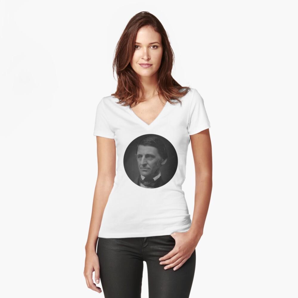Ralph Waldo Emerson - schwarz und weiß Tailliertes T-Shirt mit V-Ausschnitt