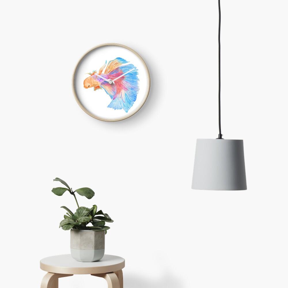 Watercolor beta fish Clock