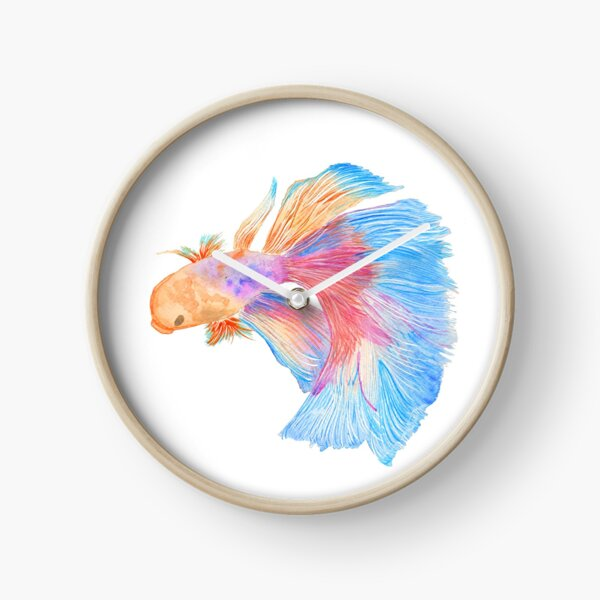 Watercolor beta fish Clock
