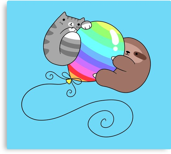 Rainbow Balloon Sloth and Cat by SaradaBoru