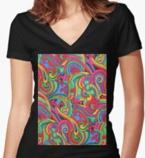 Colorful Psychedelic Paisley Pattern Women's Fitted V-Neck T-Shirt
