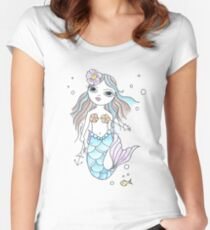Blue Coral Mermaid Doll Women's Fitted Scoop T-Shirt