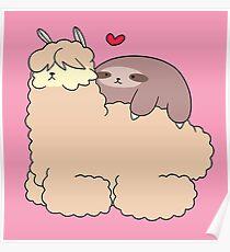Sloth Loves Alpaca Poster