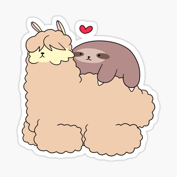 Sloth Loves Alpaca Sticker