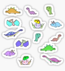 Pegatina Cute Chibi pequeños dinosaurios