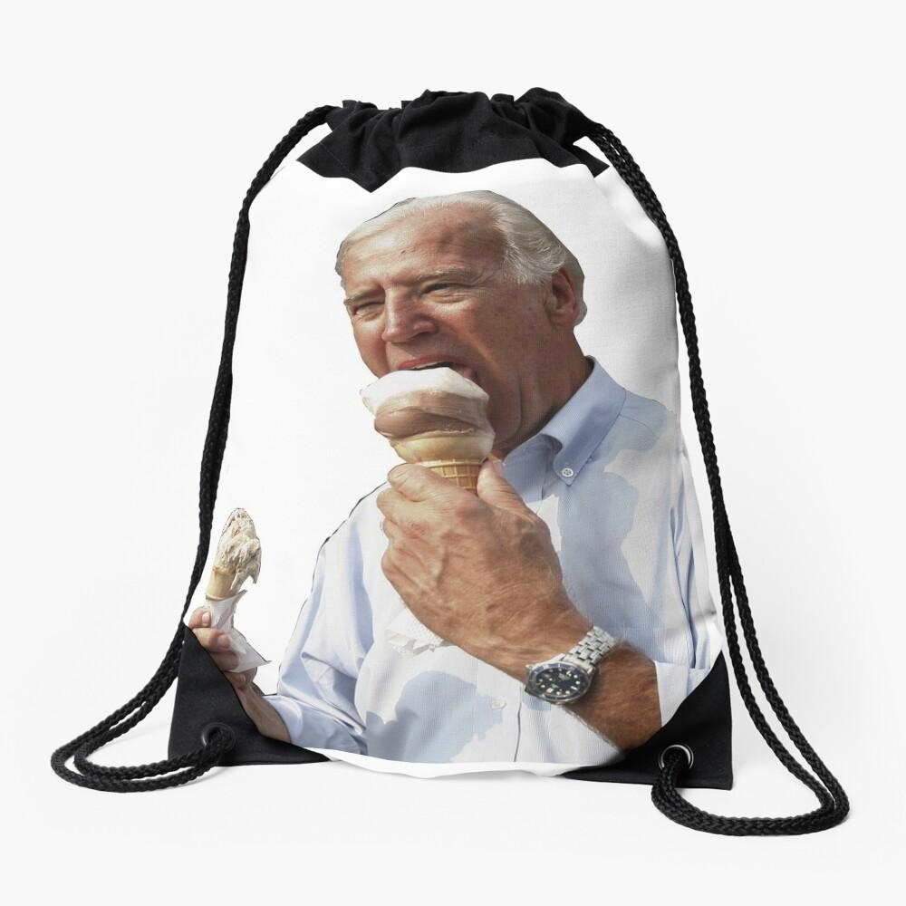 JOE BIDEN EATING ICE CREAM Drawstring Bag