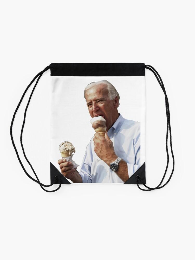 Alternate view of JOE BIDEN EATING ICE CREAM Drawstring Bag