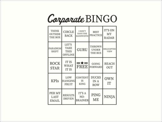 u0026quot corporate jargon buzzword bingo card u0026quot  art prints by itsrturn