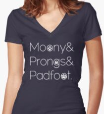 Moony & Pongs & Padfoot Women's Fitted V-Neck T-Shirt