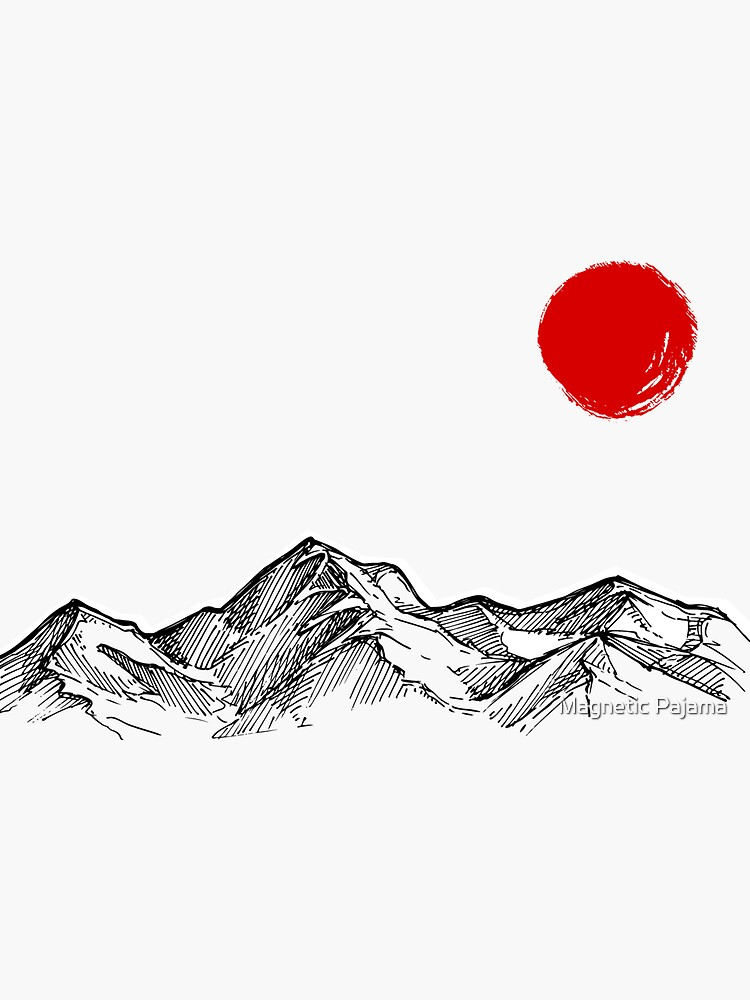 Japanese Mountain Range with Red Sun Japanese Art by MagneticMama