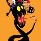 Cute witch with licorice whip monster! by Erica Rosario