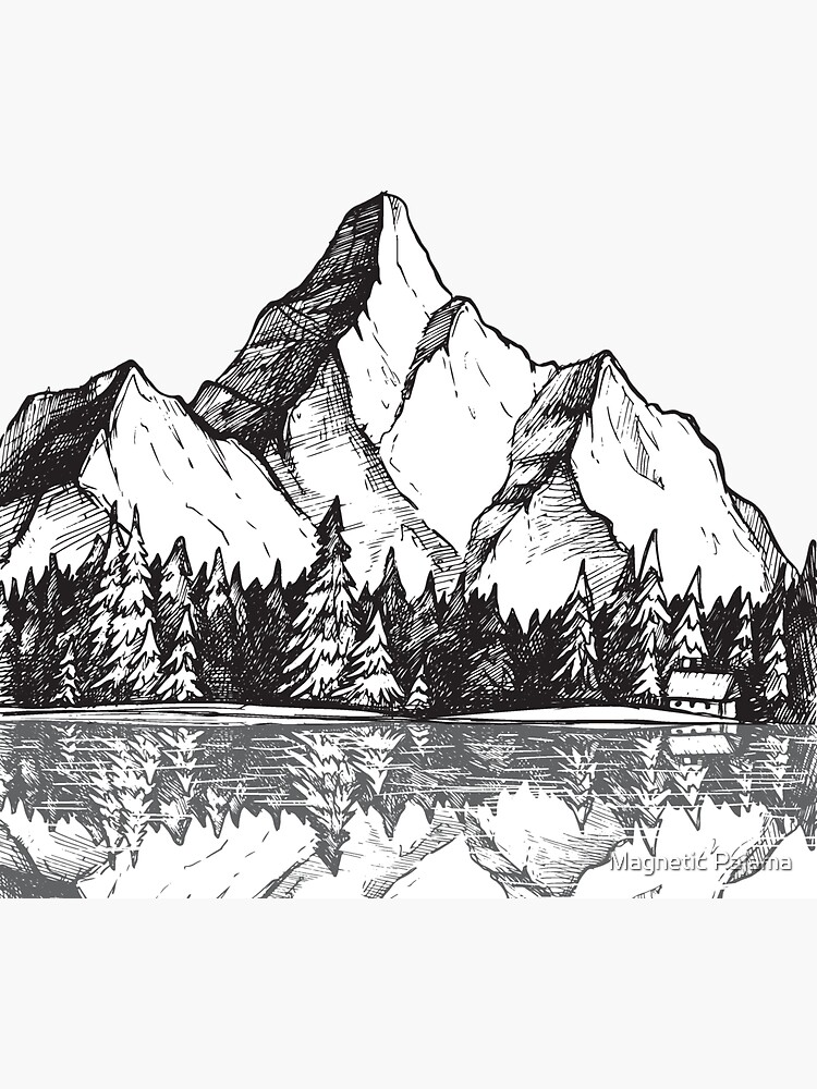 Scenic Mountain with Reflection in Lake Water // Snowy Mountains Mountain Range Drawing by MagneticMama