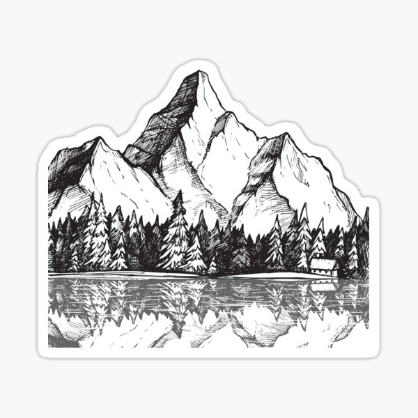 Scenic Mountain with Reflection in Lake Water // Snowy Mountains Mountain Range Drawing Sticker