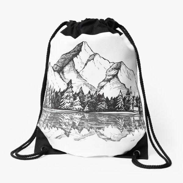 Drawstring Backpack Beautiful Mountains Shoulder Bags
