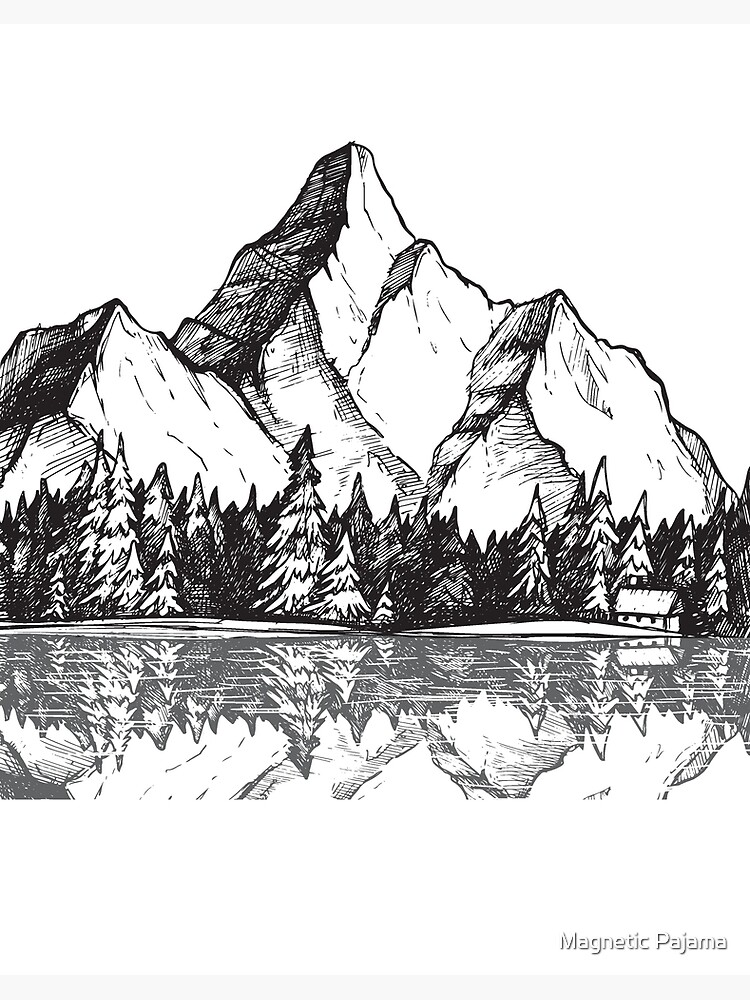 Scenic Mountain With Reflection In Lake Water Snowy Mountains Mountain Range Drawing Art Board Print By Magneticmama Redbubble How to think when you draw mountains! redbubble