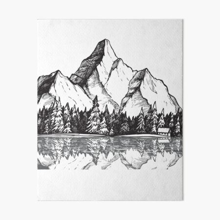 Scenic Mountain with Reflection in Lake Water // Snowy Mountains Mountain Range Drawing Art Board Print