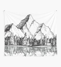 Scenic Mountain with Reflection in Lake Water // Snowy Mountains Mountain Range Drawing Wall Tapestry