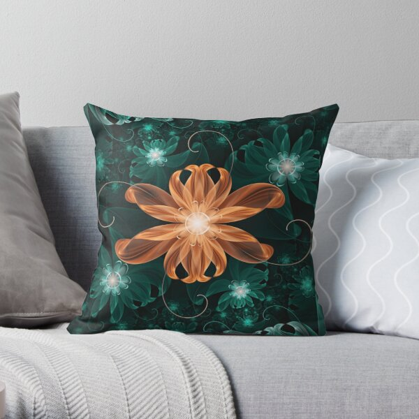 Alluring Turquoise and Orange Fractal Tiger Lily Throw Pillow