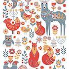Nahtloses Muster mit Winterwald, Rotwild, Eule und Fox. Der skandinavische Stil. von Skaska
