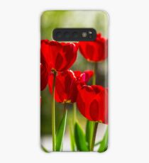 red tulips on color blurred background  Case/Skin for Samsung Galaxy