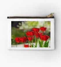 red tulips on color blurred background  Studio Pouch