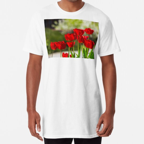 red tulips on color blurred background  Long T-Shirt