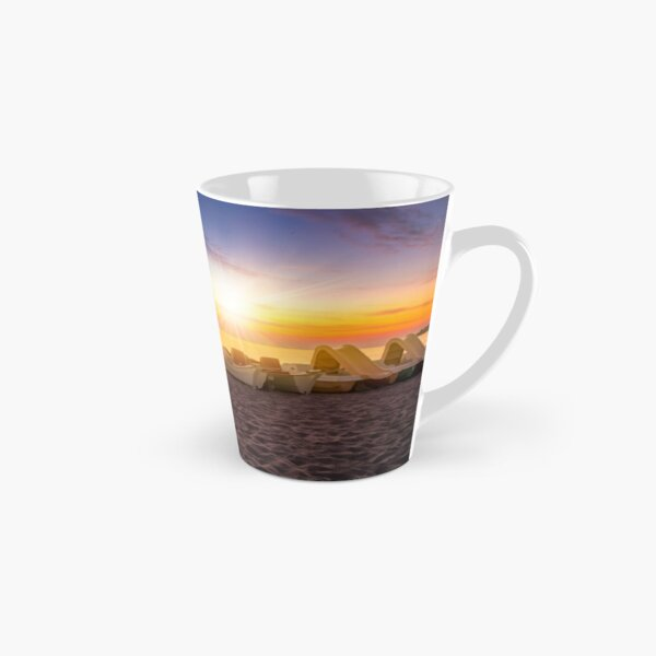 calm sunset at sea beach with boats Tall Mug
