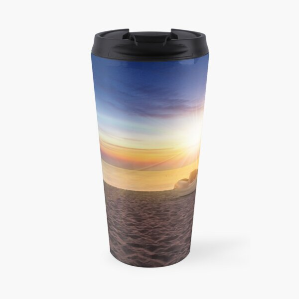 calm sunset at sea beach with boats Travel Mug